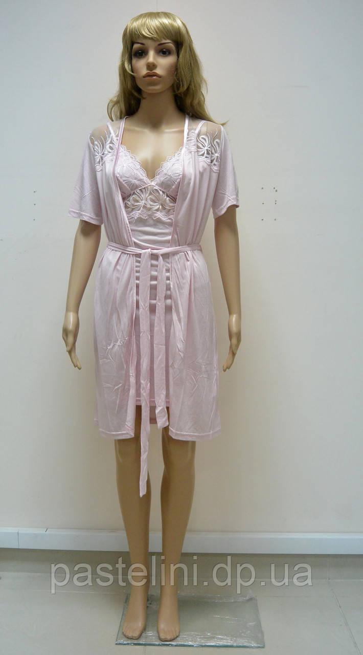 Халат + ночная рубашка 4414 розовый