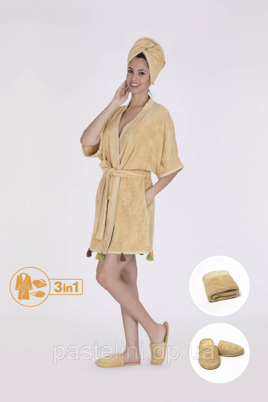 Тройка: халат+полотенце 50х90+тапочки 6581