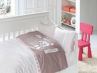 """Комплект постельного белья """"FIRST CHOICE"""" сатин в детскую кроватку baby pudra"""