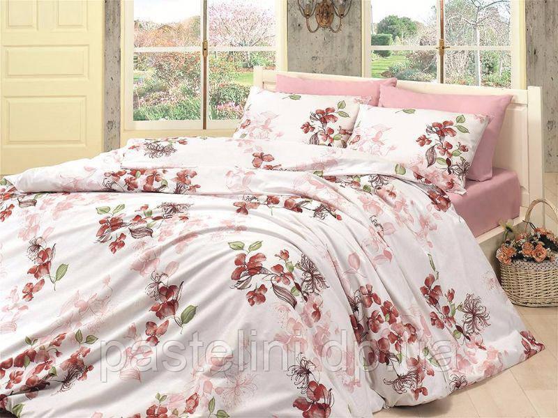 Комплект постельного белья First Choice de luxe ранфорс цветной coral pembe