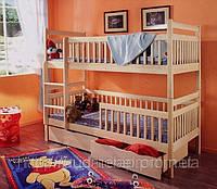 Кровать из натурального дерева двухъярусная, фото 1