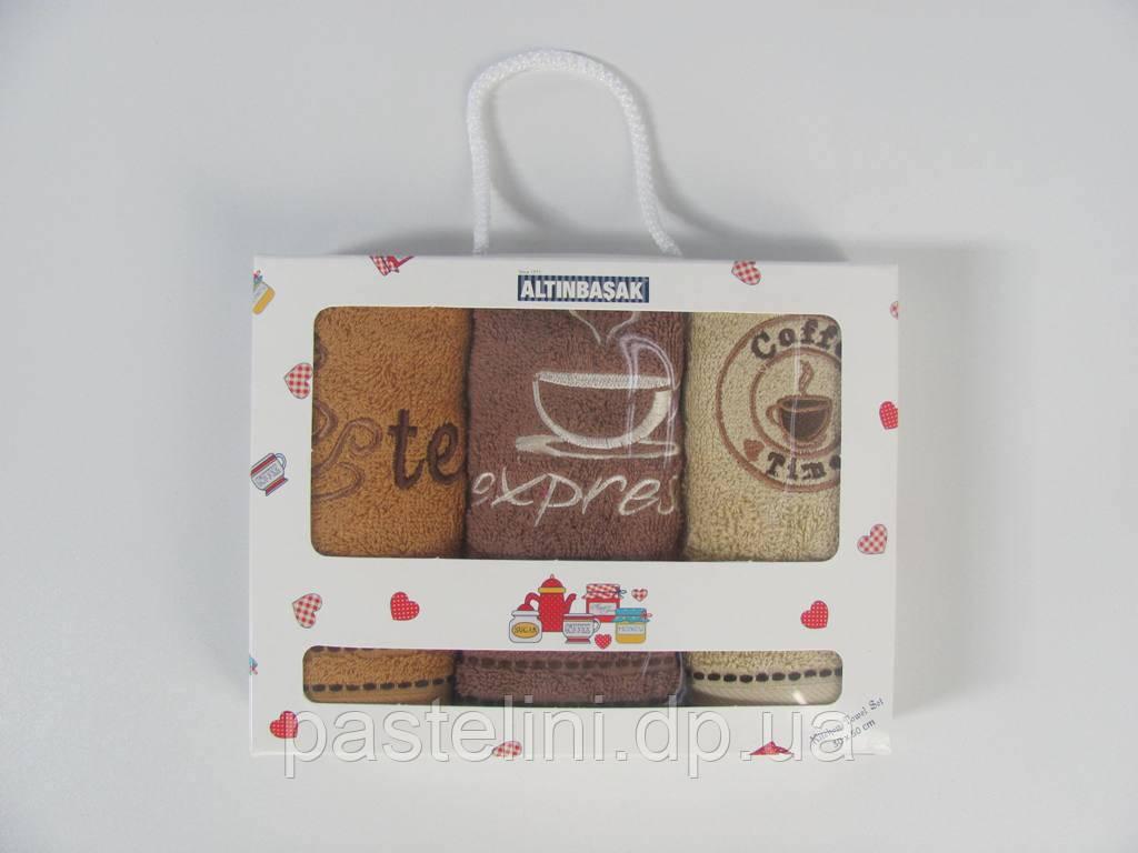 """Набор из 3-х полотенец с вышивкой в коробке """"altinbasak"""" махра expresso"""