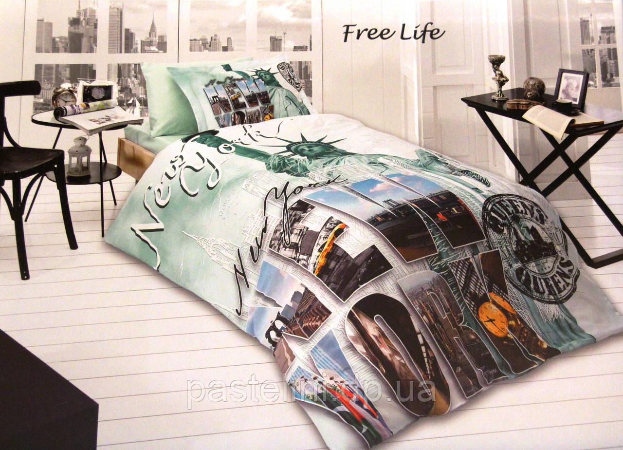 Комплект постельного белья First Choice сатин 3d молодежный free life
