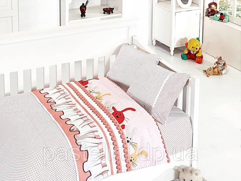Комплект постельного белья First Choice сатин в детскую кроватку ginny pudra
