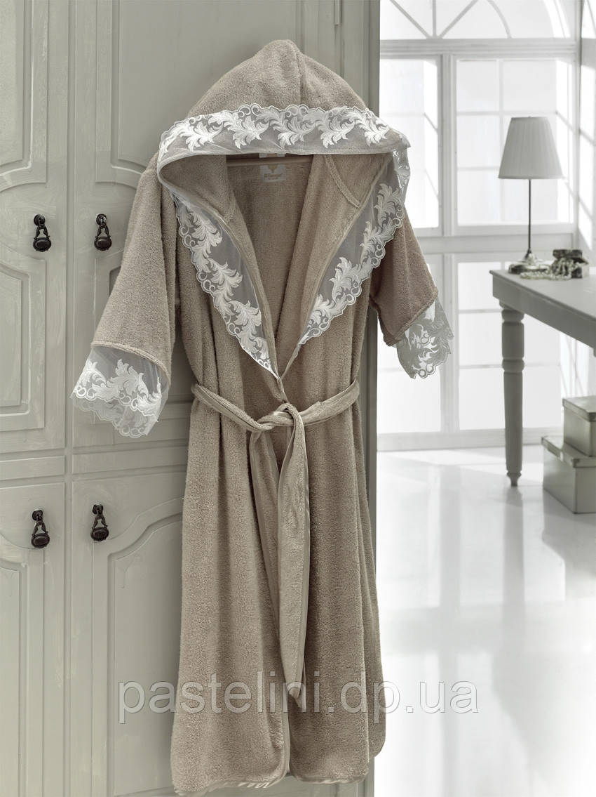 Длинный халат, двухсторонняя махра, бамбук 100% kleopatra beige