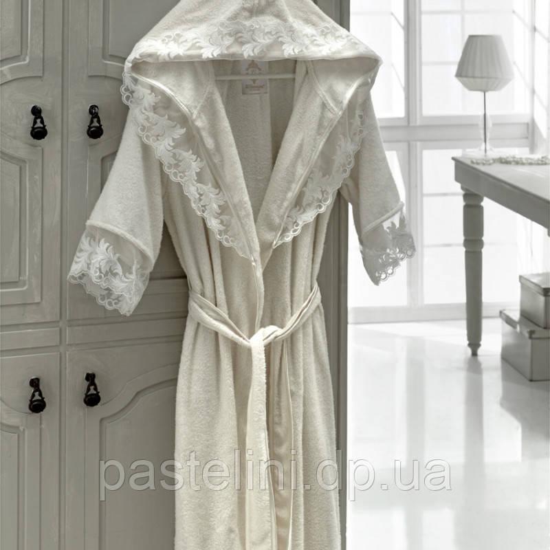 Длинный халат, двухсторонняя махра, бамбук 100% kleopatra ekru