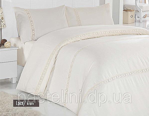 """Комплект постельного белья """"altinbasak"""" сатин люкс с кружевом lace cream"""