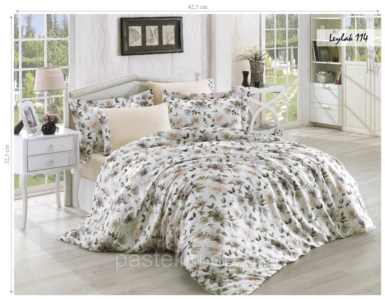 Комплект постельного белья Issihome сатин+жатый шелк Leylak 114