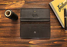 Портмоне с монетницей ручной работы из кожи Краст VOILE lw4-kbrn, фото 3
