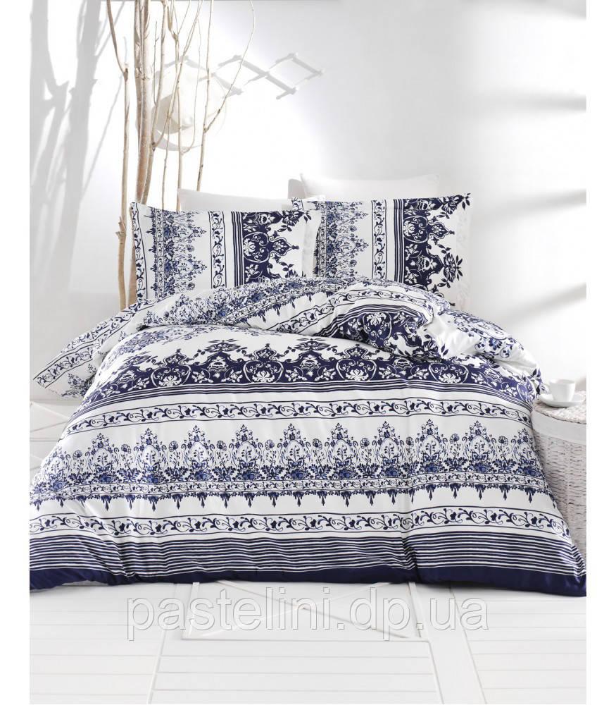 Комплект постельного белья Altinbasak сатин люкс  Navy mavi