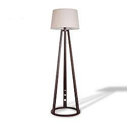 Деревянный торшер с тканевым абажуром в стиле модерн в спальню, зал, кафе 8830-1