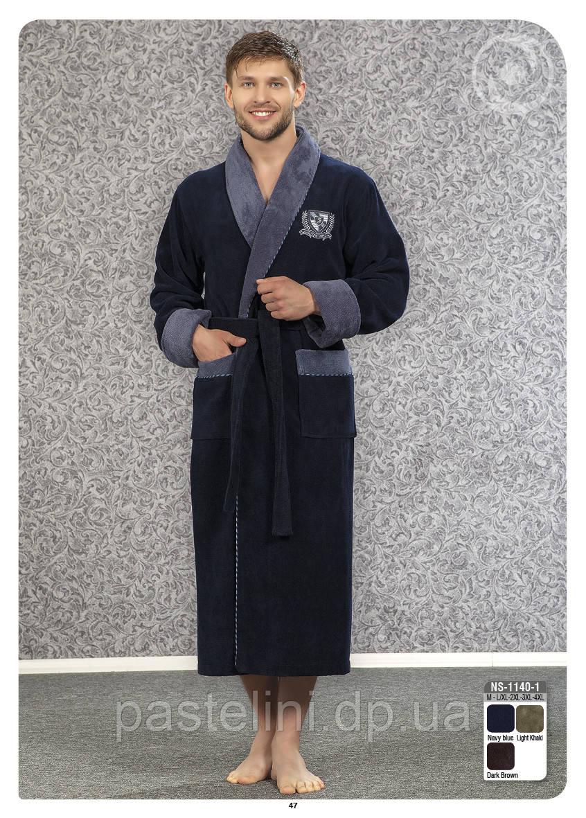 Велюр/махра длинный без капюшона, бамбук 100% ns 1140-1 синий