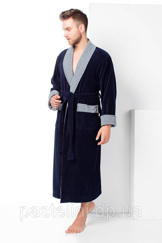 Велюр/махра длинный без капюшона, бамбук 100% ns 15140 синий
