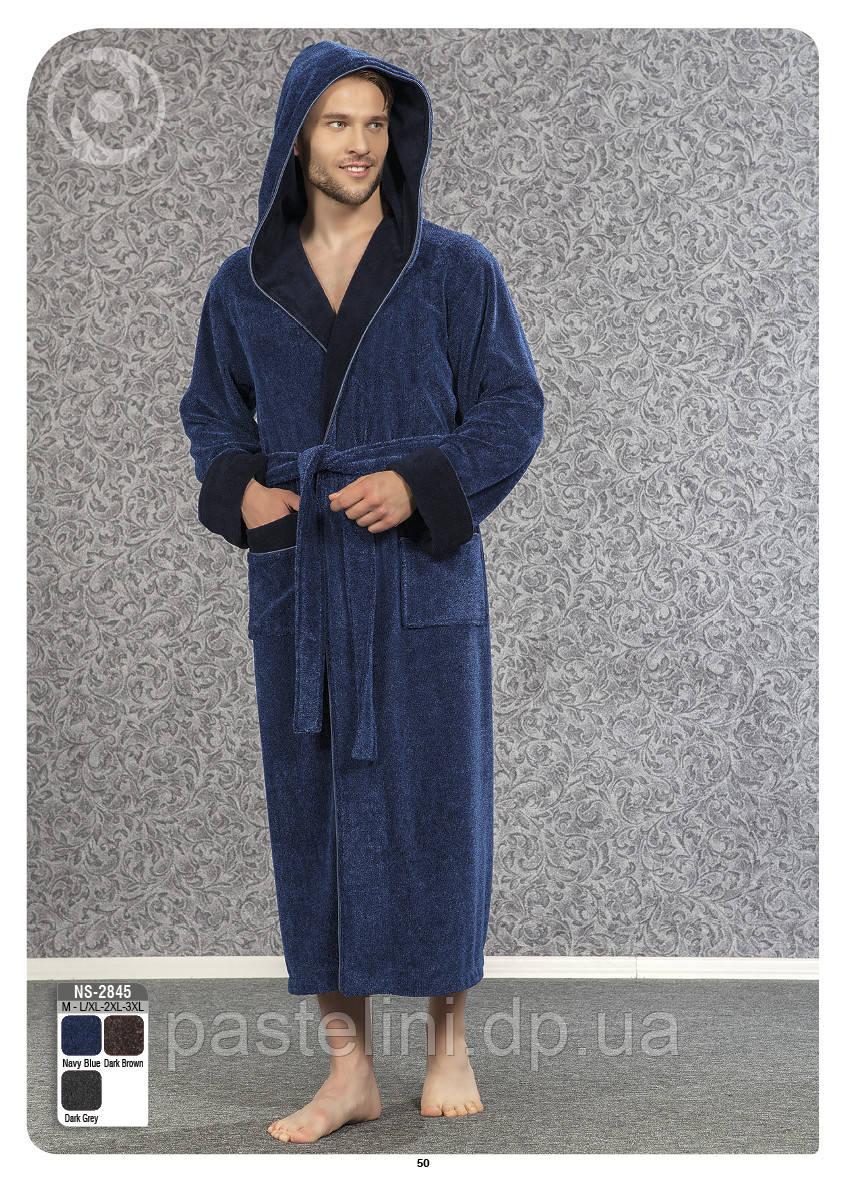 Велюр/махра длинный с капюшоном, бамбук 100% ns 2845 синий