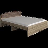Кровать с матрасом двуспальная Астория ДСП сонома + трюфель Эверест (165х203х79 см)