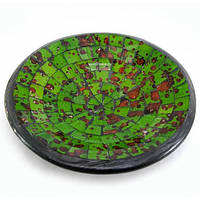 Блюдо глиняное для декора зеленая мозаика