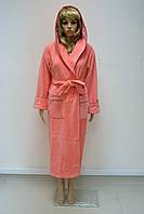 Велюр/махра длинный с капюшоном, бамбук 100% ns 3845 грейфрут