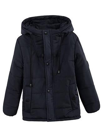 Детская демисезонная куртка на флисе для мальчика, синяя, р.128-140, фото 2