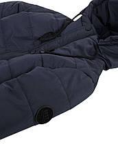 Детская демисезонная куртка на флисе для мальчика, синяя, р.128-140, фото 3