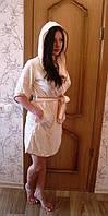 Тонкий велюр короткий с капюшоном, бамбук 100% ns 625 крем