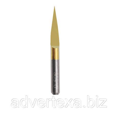 Фреза 0.1мм 15 градусов 3.175мм с титановым покрытием из вольфрамовой стали с общей длиной 30мм для гравировки
