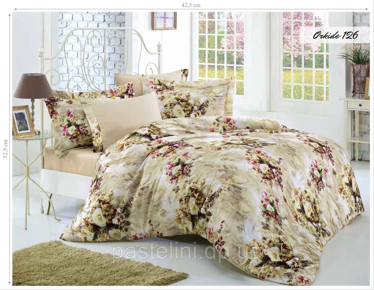 Комплект постельного белья Issihome  сатин+жатый шелк  Orkide 126