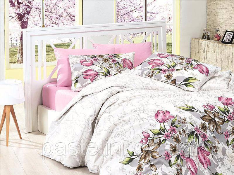 Комплект постельного белья First Choice de luxe ранфорс цветной riella pembe