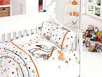 Комплект постельного белья First Choice сатин в детскую кроватку stork orange