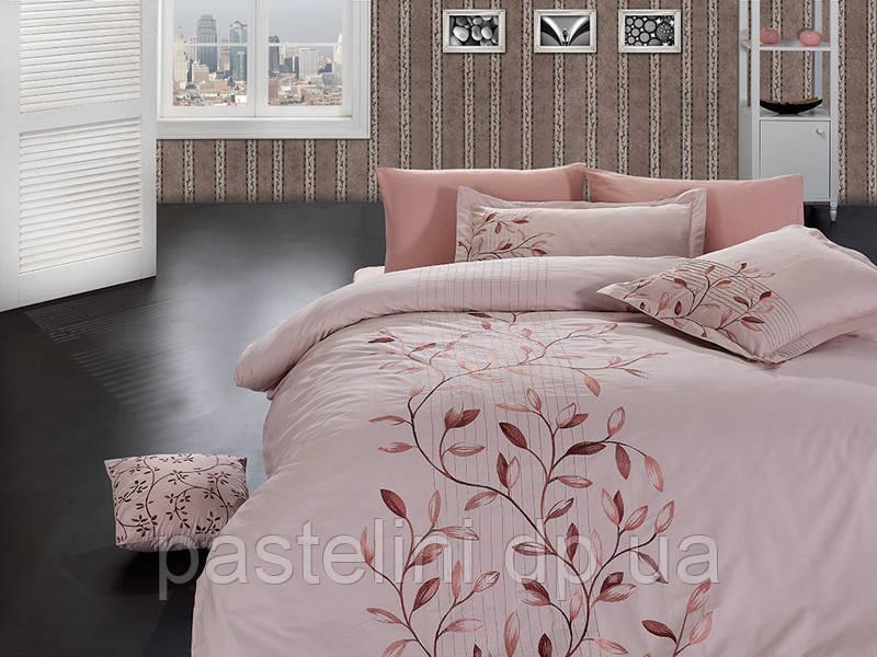 Комплект постельного белья First Choice vip сатин жаккард svip -02 casabbanca pudra