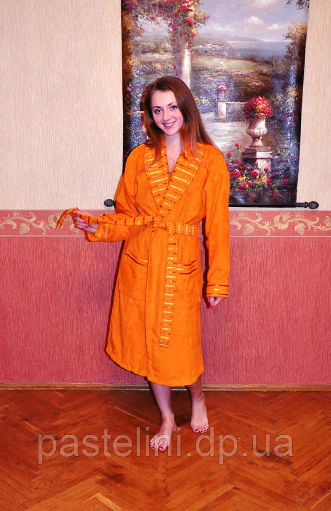 """Халат """"mariposa"""" хлопок длинный оранжевый"""