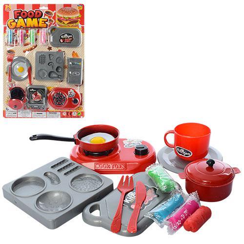Посуда QX095-5  (96шт) плита, пластилин 4шт, кастрюля, 2 вида, на листе, 30-41,5-4см