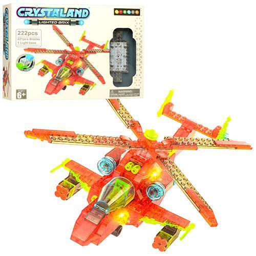 Конструктор 99052 (24шт) вертолет, свет, 222дет, на бат-ке, в кор-ке, 32-24-6,5см