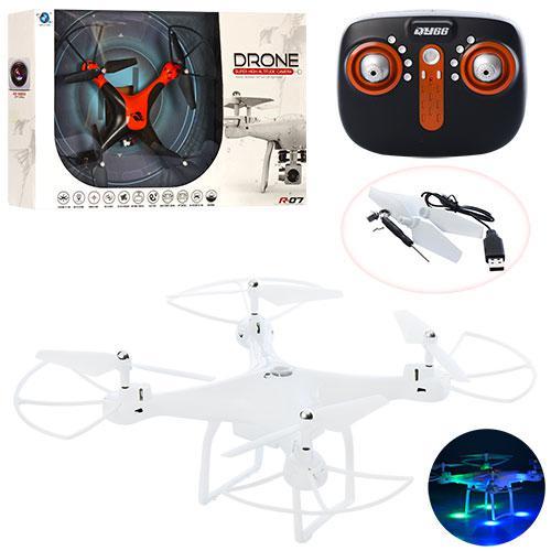 Квадрокоптер QY66-R07B (9шт) р/у,аккум,32см,свет,USBзарядное,зап.лоп,2цвета в кор-ке,39-33-13см