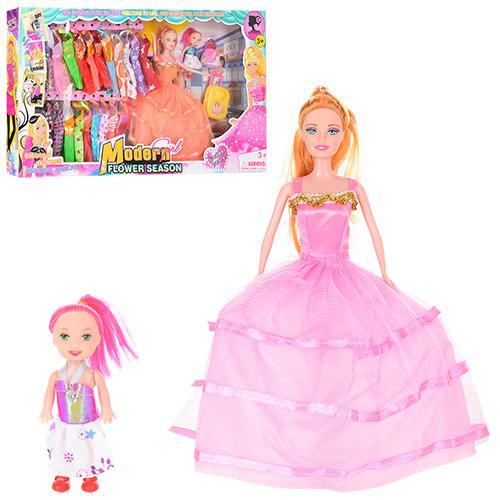 Кукла с нарядом 6688A-7 (12шт) 27см, дочка 10см, платья 20шт, чемодан, в кор-ке, 62-34-7см