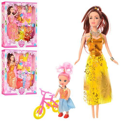 Кукла с нарядом 091D (60шт) 27см,дочка10см,платья,сумочка,велосипед,микс видов,в кор-ке,32,5-30-5см