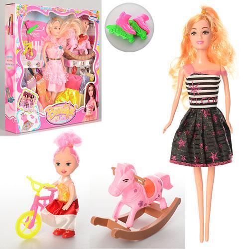 Кукла с нарядом V133-3 (48шт) 28см,платья,дочка10см,качалка,велосипед,ролики,2вида,в кор,30-32,5-5см