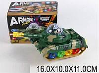Музыкальный танк, звуки настоящей стрельбы, светится,ездит,поворот,с проэктором