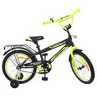 Велосипед детский PROF1 18д. G1851 (1шт) Inspirer,черно-салат(мат),звонок,доп.колеса