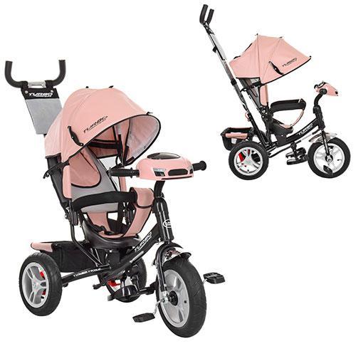 Велосипед M 3115HAL-10 (1шт)три кол.резина (12/10)кол..,своб.ход кол,звук,свет,торм.кожа,нежн-розов.