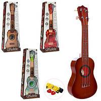 Гитара 180-1-2-3-4 (24шт) 57см, струны 4шт, 4вида, в кор-ке, 23-61,5-9см