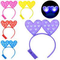 Аксессуары для праздника MK 1319 (200шт) обруч для волос,сердце,свет,5цветов,на бат(таб),в кульке