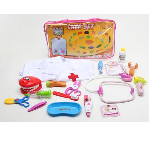 Доктор 2001-09 (12шт) стоматолог халат,стетоскоп, инструм,16предм,зв,св,бат(таб),в сумке,40,5-22-4см