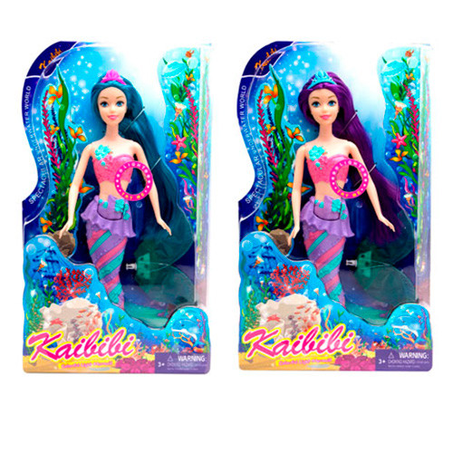 Кукла BLD152 (36шт) русалка, 36см, сьемный хвост, свет, 2вида, на бат(таб), в кор-ке, 20-32-6см