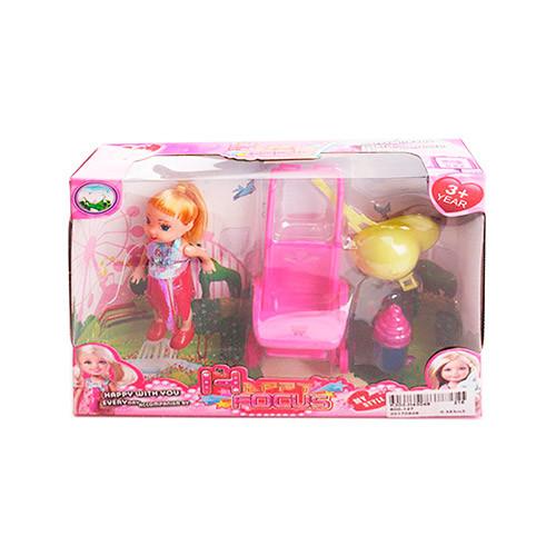 Кукла 600-127 (108шт) 10см, коляска, шлем, бутылочка, микс видов, в кор-ке, 19,5-15,5-4,5см