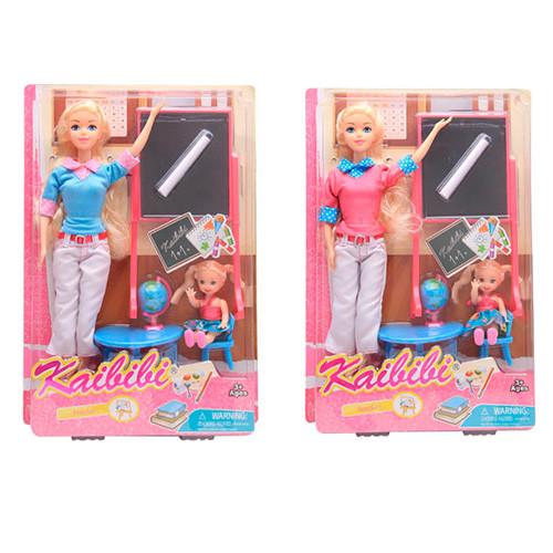 Кукла BLD130 (24шт) 30см, школа, ученица 10см, парта, доска, глобус, 2цвета, в кор-ке, 23-33,5-6см