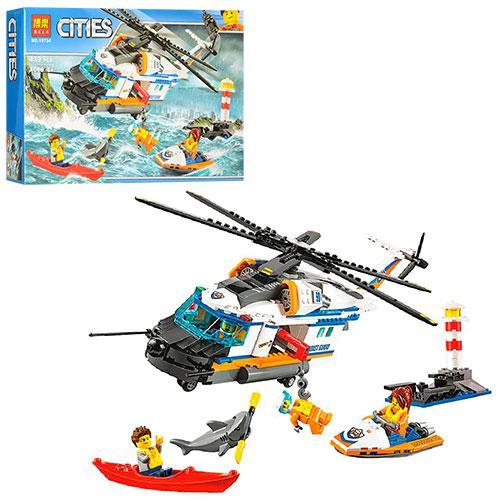 Конструктор BELA 10754 (12шт) город,вертолет, водн.скутер,лодка,акула,фигурки,в кор,41,5-28-7см