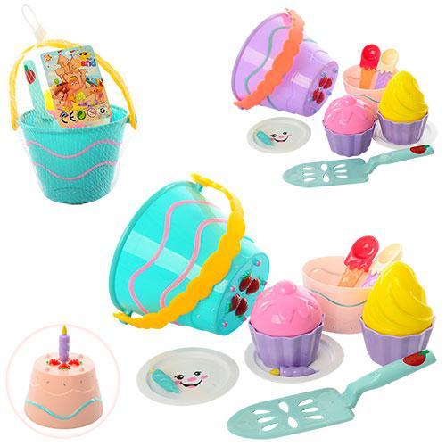 Набор для песочницы 743 (72шт) торт, ведерко11см, формочки,посуда, 2цвета, в сетке,17-13-18см