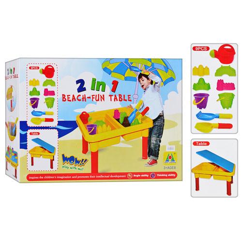 Столик-песочница M 0831 U/R (12шт) ведерко2шт,лейка,лопат,граб,формоч4шт,крышка,в кор-ке, 45-32-11см