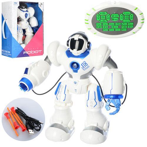Робот HX898 (6шт) р/у,аккум,35см,муз,зв,св,ездит,танцует,стреляет пулями-присос,USB,в кор,32-39-15см