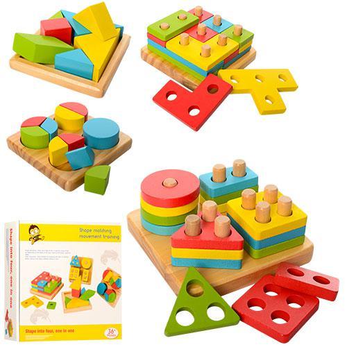 Деревянная игрушка Геометрика MD 1191 (12шт) сортер, в кор-ке, 26,5-26-6см